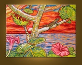 Art Painting -- Tropical Sunset -- 18 x 24 inch Original Oil Painting, OOAK, Ready to HANG -- colors not to be believed