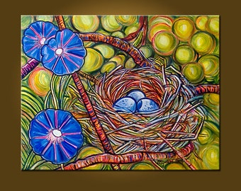 Bird's Nest Delight -- 22 x 28 Original Oil Painting by Elizabeth Graf on Etsy -- Art Painting Art Collectibles