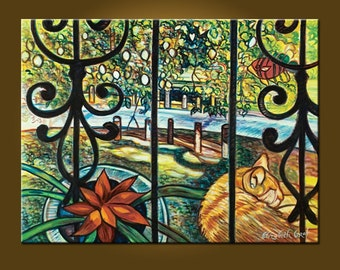 Other Side of the Garden -- 30 x 40 inch by Elizabeth Graf -- Art Painting Art Collectibles