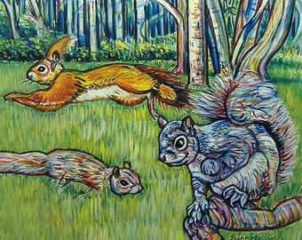 Hopping Squirrels -- 30 x 30 inch by Elizabeth Graf on Etsy, Art Painting Original Painting