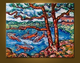 Serenity and Fish -- 24 x 30 inch Original Oil Painting by Elizabeth Graf, Art Painting Art Collectibles