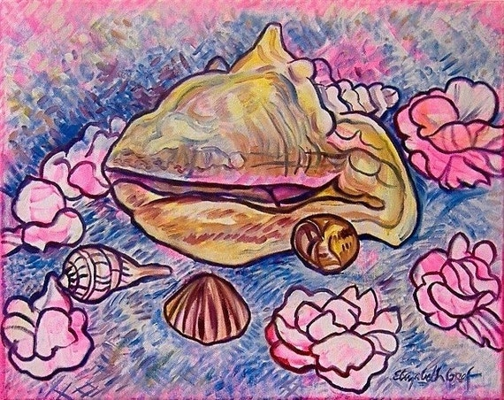 Shells and Flowers -- 16 x 20 inch original oil painting