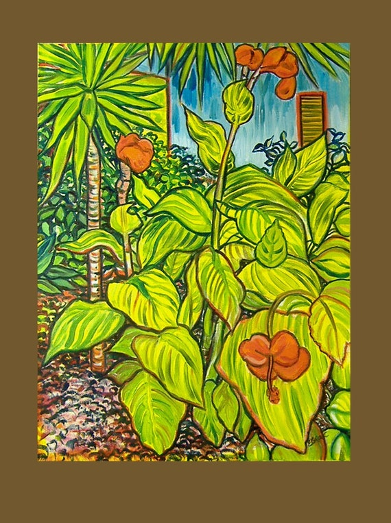 Oct. 1 Payment No. 2 -- RESERVED FOR NATUREBELLA -- Caribbean Bounty -- 24 x 36 and Canna Lilies 18 x 24 inch