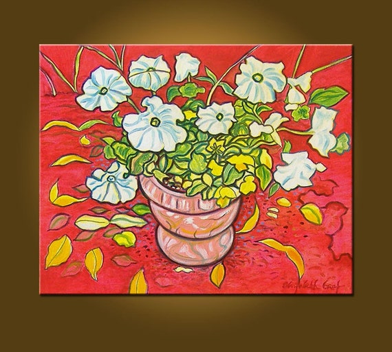 Art Painting Canvas -- Petunias -- 16 x 20 inch Original Oil Painting -- READY TO HANG