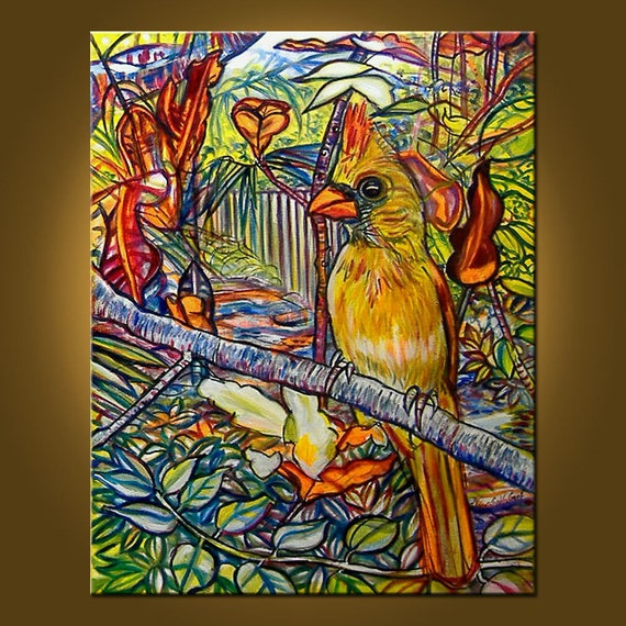 RESERVED for PEARLGRAVES - Mrs. Cardinal -- 22 x 28 inch Original Oil Painting -- ready to hang