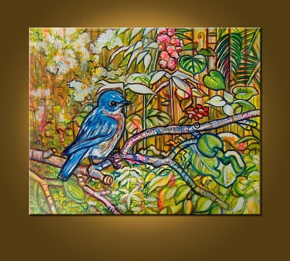 RESERVED for PEARLGRAVES -- The Florida Bluebird -- 24 x 30 inch Original Oil Painting by Elizabeth Graf, Etsy, Ready to Hang