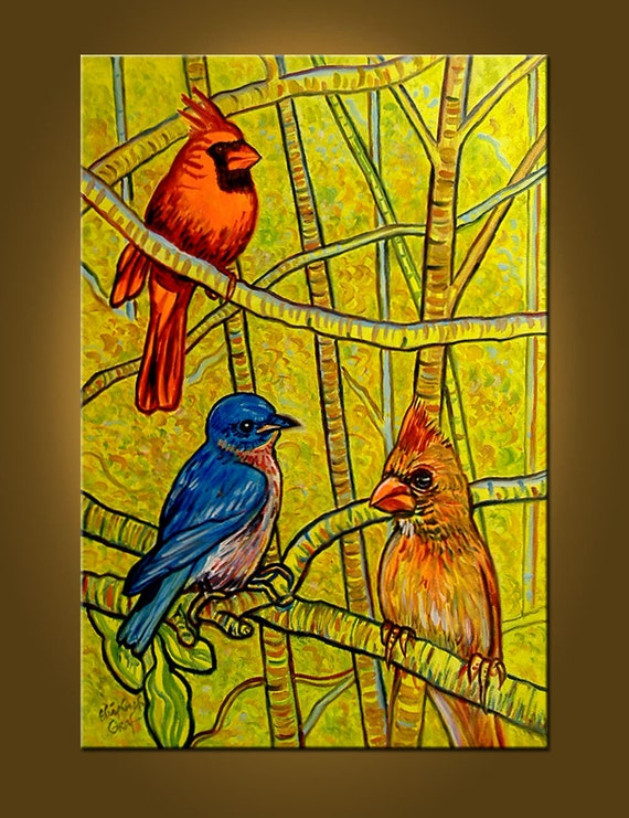The Aviary -- 20 x 30 inch Original Oil Painting -- READY TO HANG