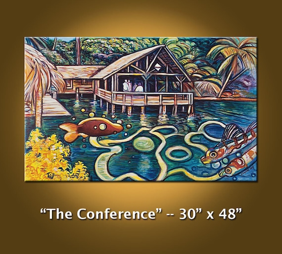 RESERVED for WILLIAM -- The Conference -- Port Royal Yacht Club, Roatan, Honduras -- 30 x 48 original oil painting