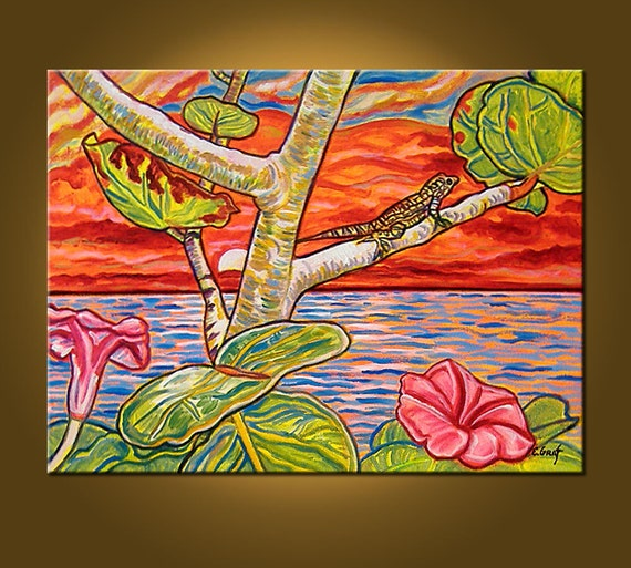 SALE -- Tropical Sunset -- 18 x 24 inch Original Oil Painting, OOAK, Ready to HANG -- Art Painting, Art & Collectibles