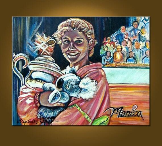 RESERVED FOR JOHN -- Monica Seles, Tennis Star -- 24 x 30 inch original oil painting
