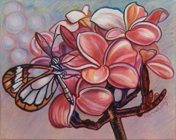 RESERVED for PIXIELESHER -- Glasswing and Plumeria - 16 x 20 inch original oil painting -- Great Price