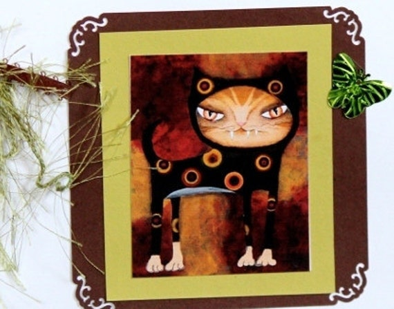 Set of 2 Whimsical Cat Greeting Cards angiec kitty blank cards CAT KITTY