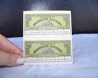Michigan Lottery----- Vintage Michigan Lottery Tickets