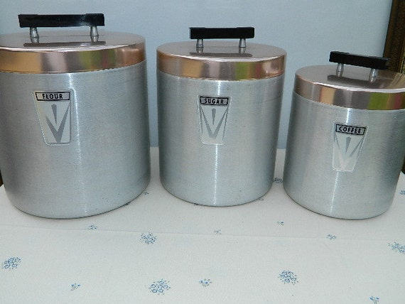 Vintage  Aluminum Kitchen Canisters-Set of 3