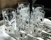 6 Vintage Retro Black & White Mushroom Drinking Glasses