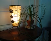 cone shaped vintage 50s table lamp with fiberglass shade