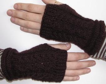 Burgundy Handwarmers Cable Design Fingerless Gloves, Driving Gloves, Texting Gloves