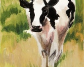 Original ACEO Painting in Watercolor- Farm Animal Cattle Cow