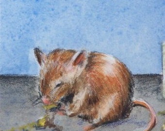 ACEO Original Watercolor Painting - Mouse Munching Lunch