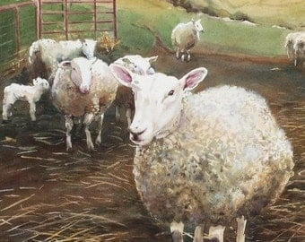 Sheep Painting - Limited Edition Print - Landscape - Sheep - Lamb - Giclee - Wall Art - Farm Scene - Sheep Farm - Spring Landscape