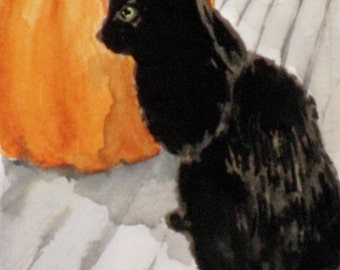"""Original ACEO watercolor painting - Black Cat with Pumpkin - 2 1/2"""" x 3 1/2"""" - Artist Trading Cards - Art Cards - Halloween"""