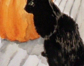 Original ACEO watercolor painting - Black Cat with Pumpkin