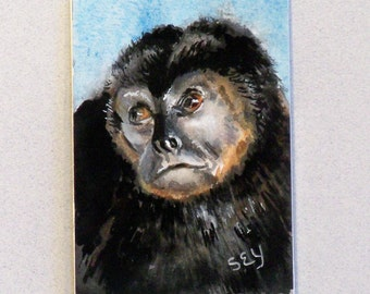Original ACEO Watercolor Painting - Animals - Howler Monkey - Artist Trading Cards - Art Cards - Wildlife Art - Fine Art