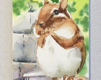 Original ACEO watercolor painting - Animals Chipmunk