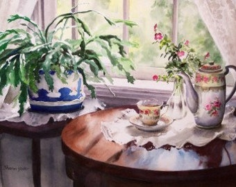 Still Life Painting - Giclee Print - Limited Edition Print - Tea Cup - Christmas Cactus - Tea Pot - Reproduction of Watercolor Painting