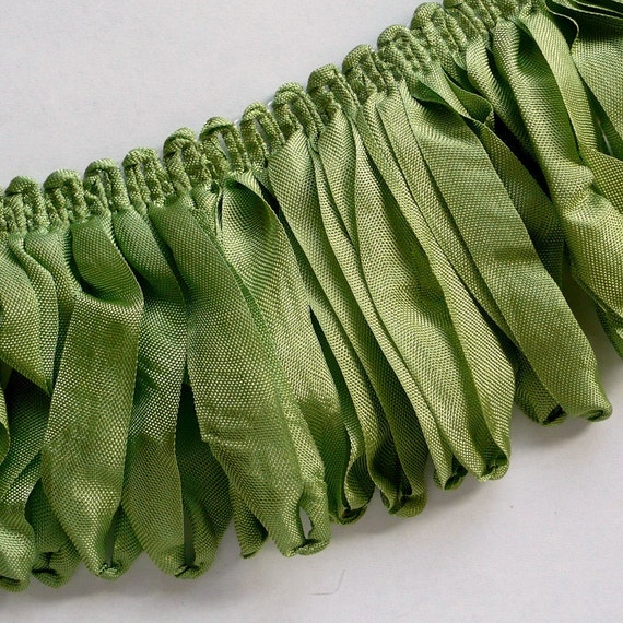 3404 Green Ribbon Loop Trim Vintage Style Fringe 34 Inches