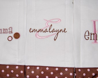 Baby Burp Cloth Set of 3 your choice of colors and design of Personalized Monogrammed Custom Made