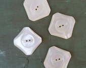 vintage mop buttons // 4 pc set // square mother of pearl buttons // carved shell mop