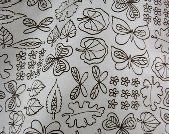 3 2/3 Yds Leaf and Butterfly Vintage Fabric
