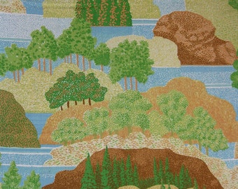 Graphic Mod Trees Forest Vintage Fabric in Sheet Form Twin Flat Landscape