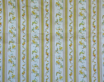 2 Yds Golden Stripes and Flowers Ticking  Vintage Look Fabric