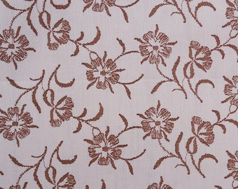 2.25 yards vintage fabric - brown embroidered look floral print - vintage 50s 60s cotton fabric