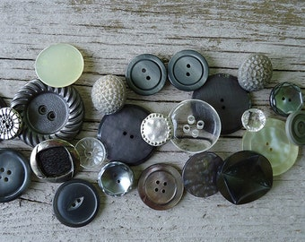 25 pc vintage button lot - stormy gray silver charcoal clear shell mop
