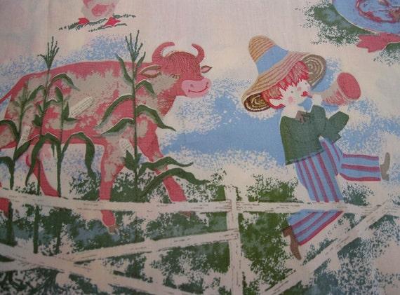 Vintage novelty nursery rhyme fabric panels set of 2 1960s for Retro nursery fabric