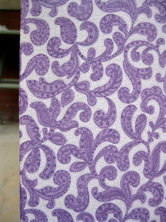 RESERVED LISA MARIE Vintage Fabric 40s - Purple Scrolly 100% Cotton