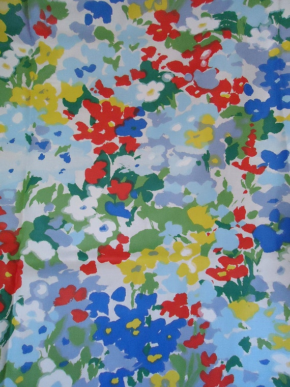 vera style vintage fabric - circa 60s 70s - bright happy floral fabric - 48 wide by 2 yards long