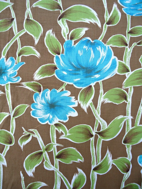 3 yards vintage 50s fabric - best turquoise flowers - all cotton - 36w