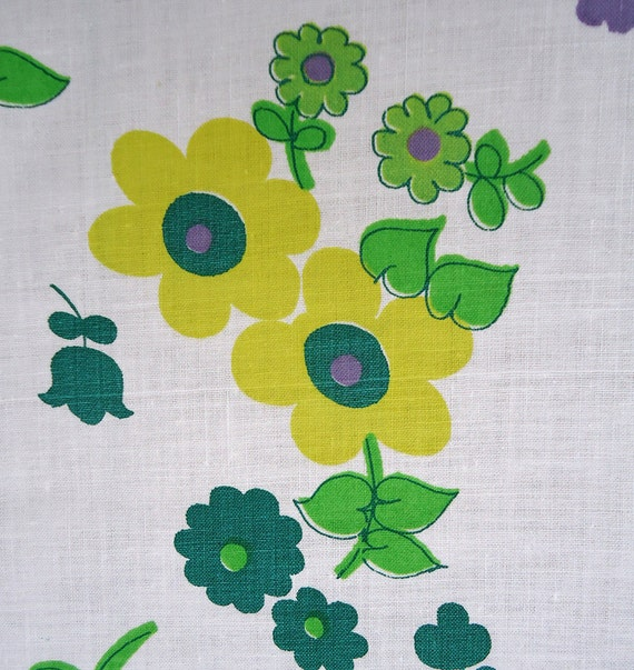 Flower Power vintage fabric - 60s happy floral- great colors - cotton fabric
