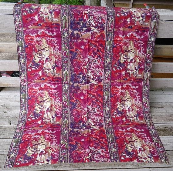 vintage 50s fabric - artsy vibrant - toile pastoral scene - cotton