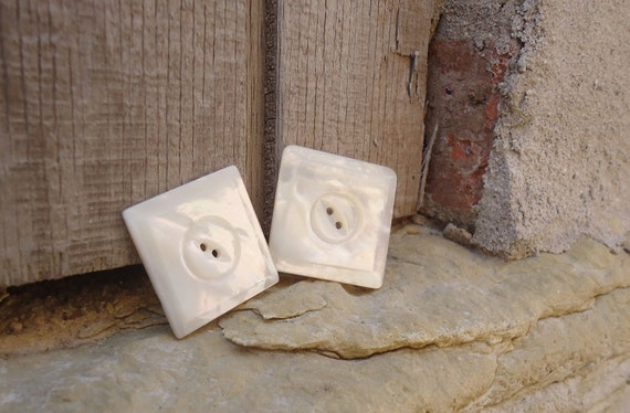 vintage mother of pearl shell buttons - set of two - carved square - beautiful MOP
