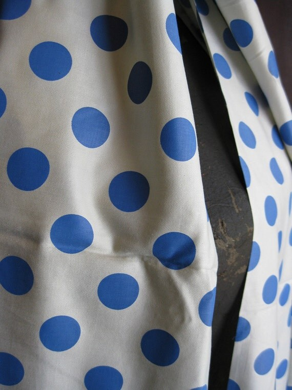 Cerulean Blue Dots Vintage Sateen Fabric 3 3\/4 Yards