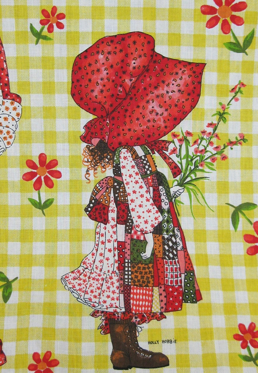 Holly Hobbie Vintage Fabric Twin Bedspread 70s