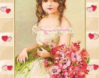 Beautiful Vintage Postcard Valentine Girl Fabric Block 8x10