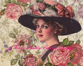 Lovely Altered Art Victorian Lady w Roses Fabric Block 5x7