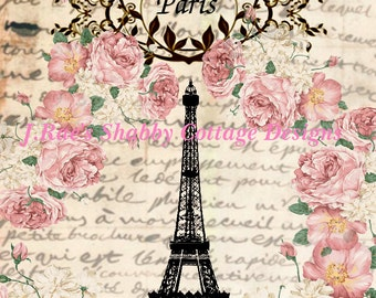 Altered Art Eiffel Tower Paris French Roses Fabric Block 8x10 JRaes Exclusive