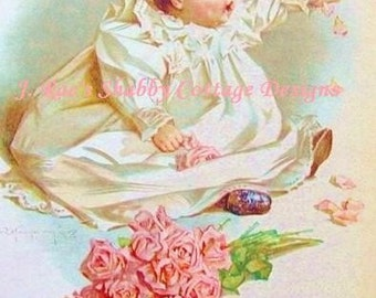 Gorgeous Vintage Repro Maud Humphrey Print Baby w Roses Fabric Block 5x7
